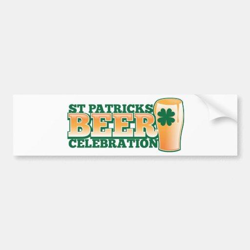 ST Patricks Day BEER Celebration Bumper Sticker