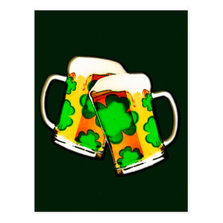 St. Patrick's Day Beer Mugs Postcard
