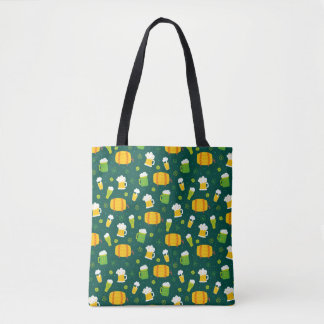 St. Patrick's Day Beer Print Tote Bag