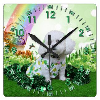 St Patrick's Day - Bichon Frise - Mia Square Wall Clock