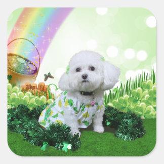 St Patrick's Day - Bichon Frise - Mia Square Stickers