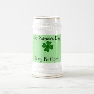 St. Patrick's day birthday 4 leaf clover 18 Oz Beer Stein