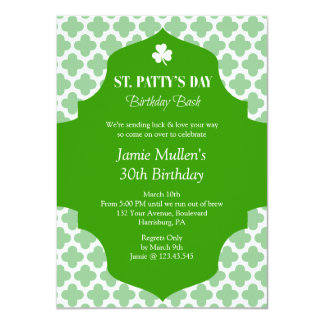 """St. Patrick's Day Birthday Bash Modern and Simple 4.5"""" X 6.25"""" Invitation Card"""