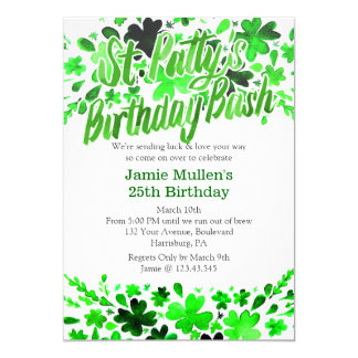 St. Patrick's Day Birthday Bash Watercolor Card