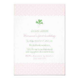 "St Patricks Day Birthday Girl Pink Green Shamrock 5"" X 7"" Invitation Card"