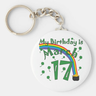 St. Patrick's Day Birthday Basic Round Button Keychain
