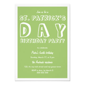St Patricks Day Birthday Party 40th Retro Green Card
