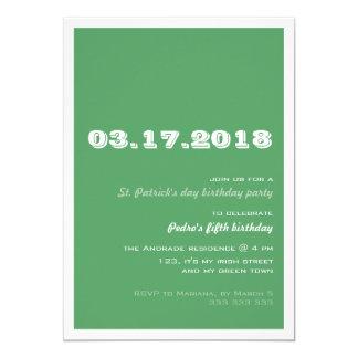 St Patricks Day Birthday Party 50th Retro Green Card