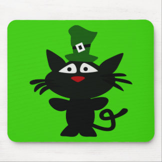 St Patrick's day: Black Cat Mouse Pad