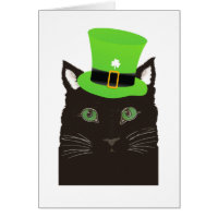 St. Patrick's Day Black Cat wearing Green Hat Card