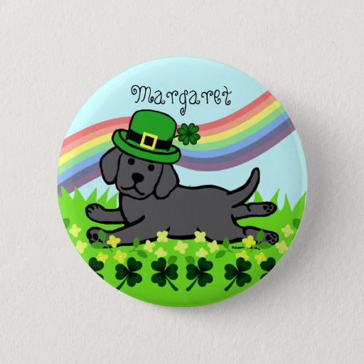 St. Patrick's Day Black Lab Baby Button