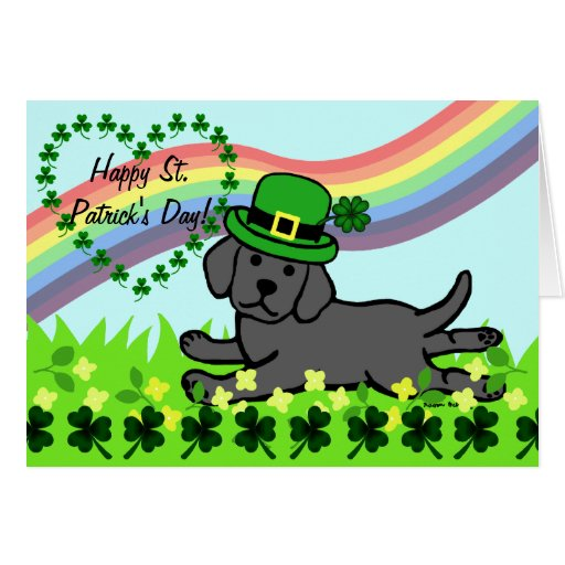 St. Patrick's Day Black Lab Baby Card