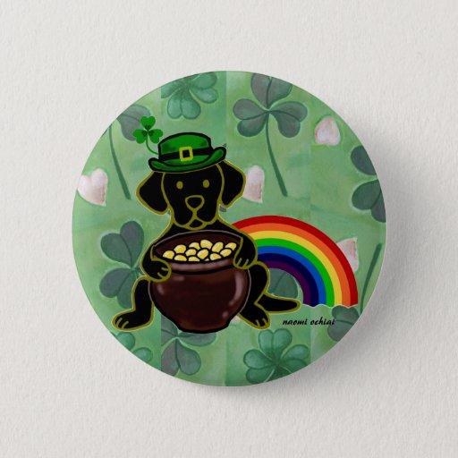 St. Patrick's Day Black Lab Rainbow Button