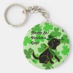 St. Patrick's Day Black Labrador Basic Round Button Keychain