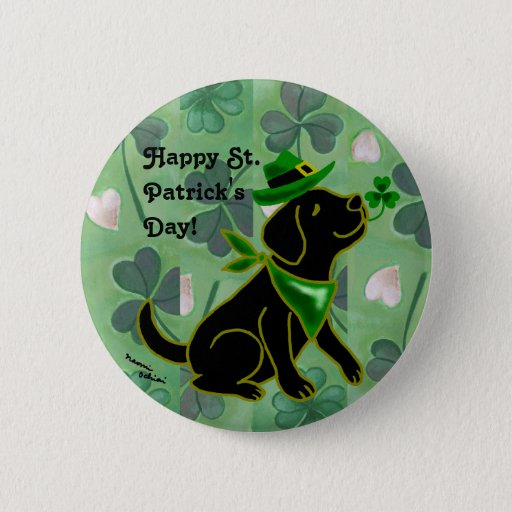 St. Patrick's Day Black Labrador Button