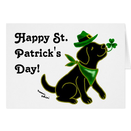 St. Patrick's Day Black Labrador Card