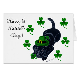 St. Patrick's Day Black Labrador Puppy Greeting Cards