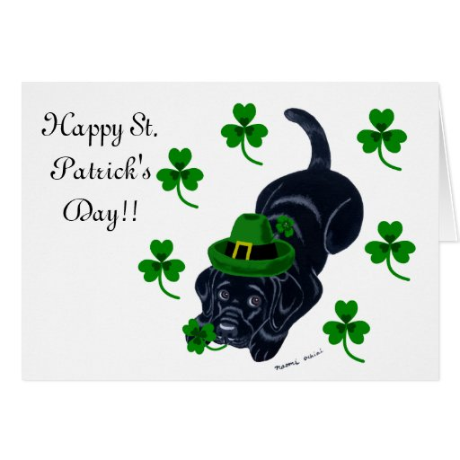 St. Patrick's Day Black Labrador Puppy Card