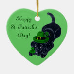 St. Patrick's Day Black Labrador Puppy Double-Sided Heart Ceramic Christmas Ornament