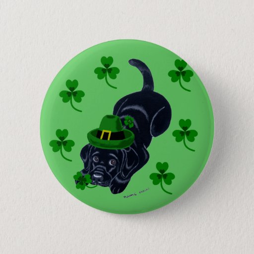 St. Patrick's Day Black Labrador Puppy Pinback Button