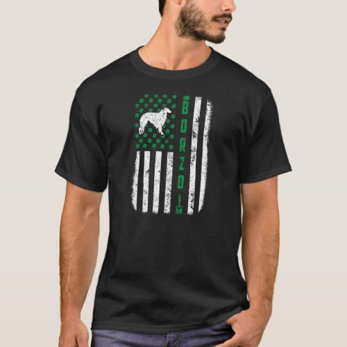St Patricks Day Borzoi Dog Irish USA Flag Funny S T_Shirt