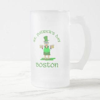 st patricks day boston gladys frosted glass beer mug