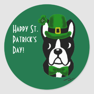 St. Patrick's Day Boston Terrier 1 Classic Round Sticker