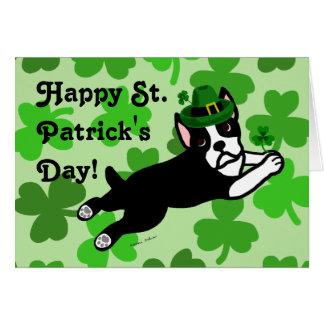 St. Patrick's Day Boston Terrier 2 Card