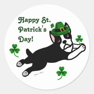 St. Patrick's Day Boston Terrier 2 Classic Round Sticker