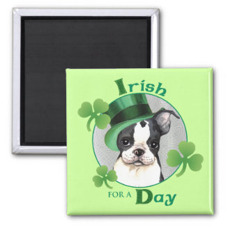 St. Patrick's Day Boston Terrier 2 Inch Square Magnet