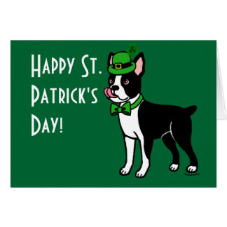 St. Patrick's Day Boston Terrier 3 Card