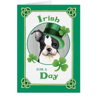 St. Patrick's Day Boston Terrier Card