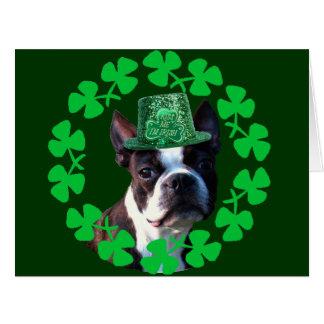 St Patricks day Boston Terrier dog Card