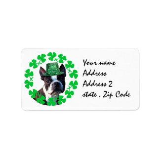 St Patricks day Boston Terrier dog Label