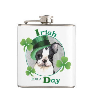 St. Patrick's Day Boston Terrier Hip Flask