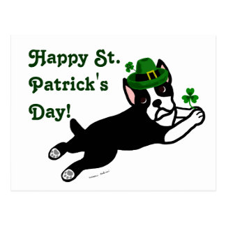 St. Patrick's Day Boston Terrier Postcard