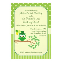 St. Patrick's Day Boy's Birthday Owl Card
