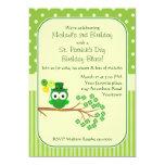 St. Patrick's Day Boy's Birthday Owl Personalized Invite