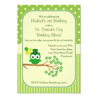St. Patrick's Day Boy's Birthday Owl 5x7 Paper Invitation Card