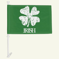 St Patricks Day car flags with lucky irish clover