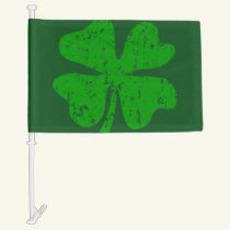 St Patricks Day car window flag with lucky clover