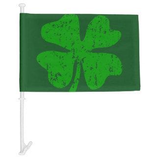 St Patricks Day car window flag with lucky clover