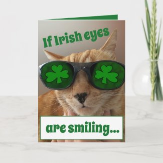 St. Patrick's Day Card featuring a COOL cat