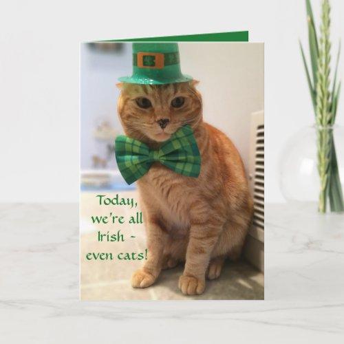 St Patricks Day Card featuring a cute cat