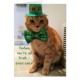 St. Patrick's Day Card featuring a cute cat, cat greeting cards