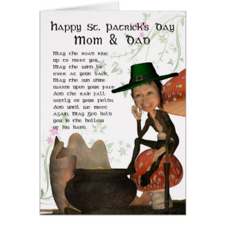 St. Patrick's Day Card With Leprechaun Mom & Dad