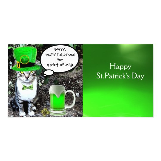 ST PATRICK'S DAY CAT AND GREEN IRISH BEER CARD
