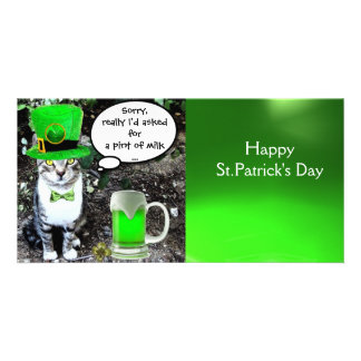 ST PATRICK'S DAY CAT AND GREEN IRISH BEER PHOTO CARD