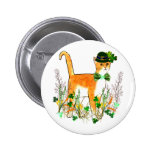 St. Patrick's Day Cat Button