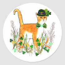 St. Patrick's Day Cat Classic Round Sticker